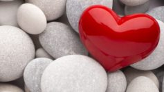 Red Heart And White Stones Love