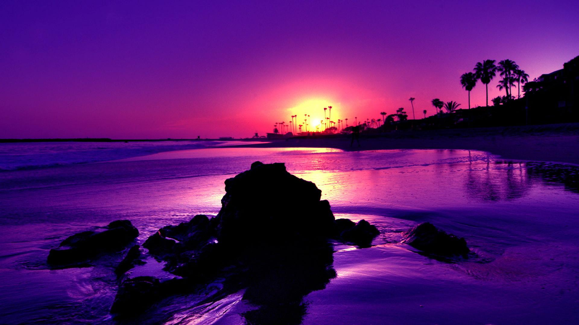 Amazing Purple Sunset Beach High Definition Wallpaper