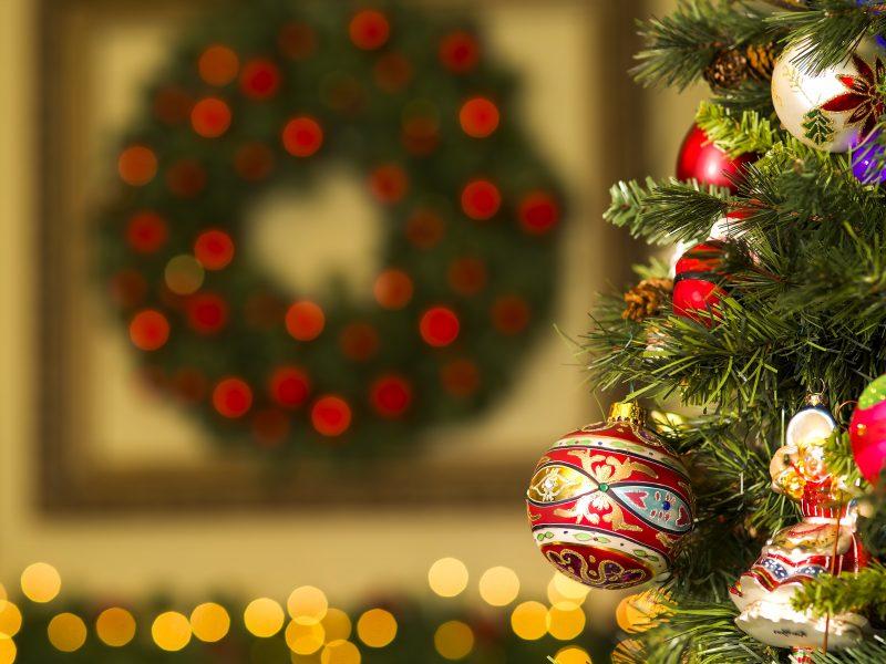 Happy New Year Christmas Tree Toys Jewelry Balls Glare Bokeh Back Ground