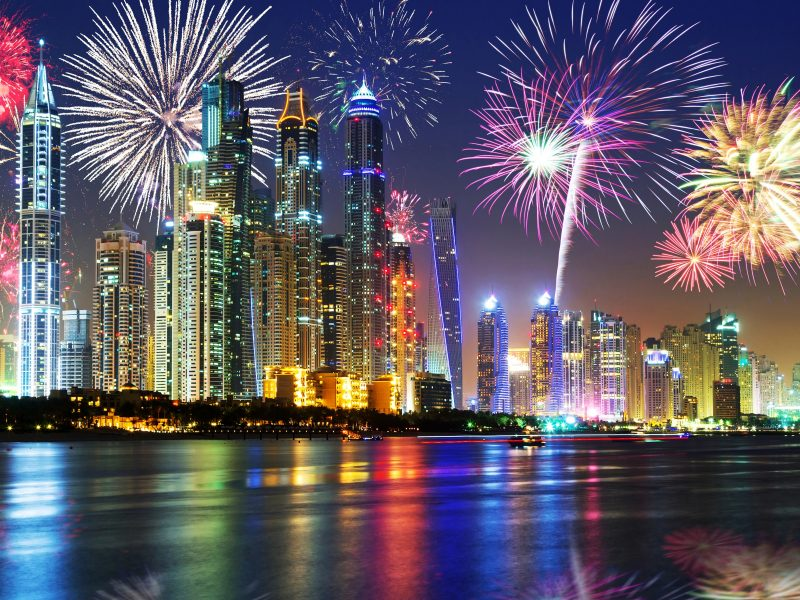 Happy New Year Dubai 2016 Fireworks Midnight Lights Over City With Reflection In River